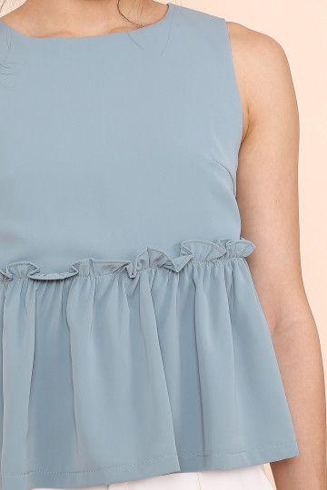 ESTELLE BABYDOLL TOP (SEAFOAM BLUE) (SIZE L)