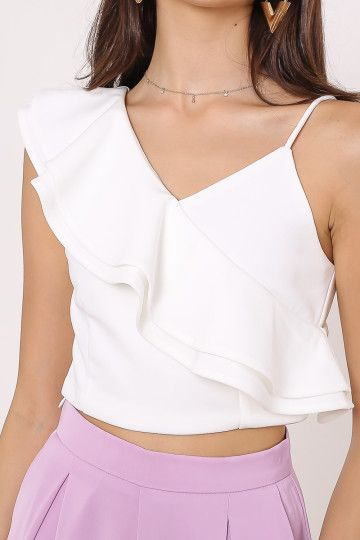 KARIN RUFFLE TOP (WHITE)