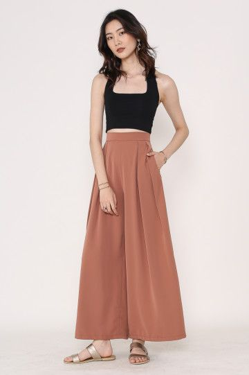 PERRY PLEATED FLARE PANTS (TERRACOTA)