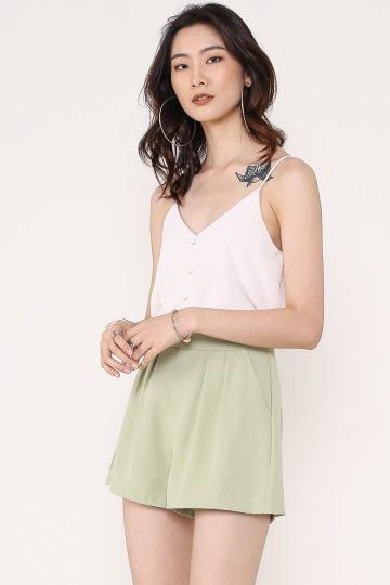 BLAKE HIGH-WAISTED SHORTS (AVOCADO GREEN)