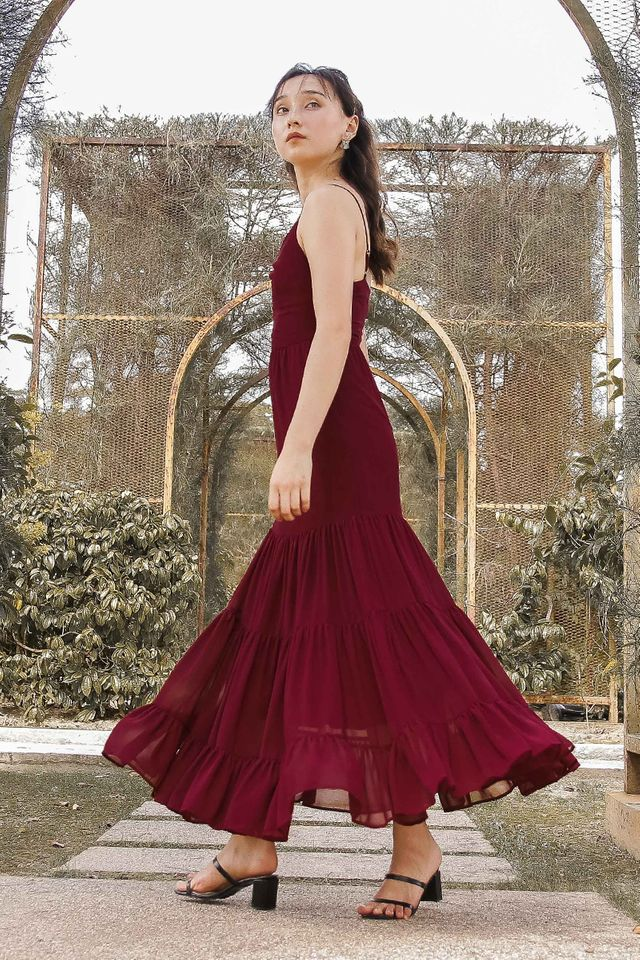 TIFFANY TIERED MAXI DRESS (BURGUNDY) (SIZE XS)