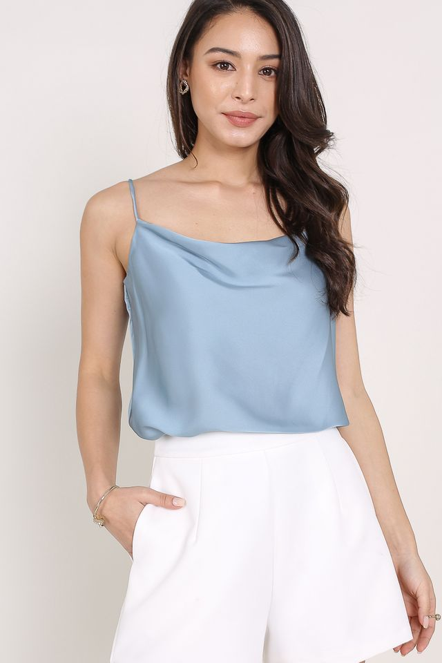 JOANN COWL NECK SATIN TOP (STEEL BLUE)