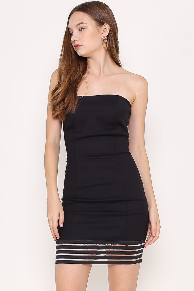 REBECCA MESH-BODYCON DRESS (BLACK)