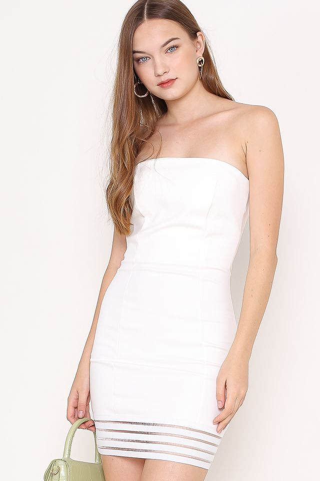 REBECCA MESH-BODYCON DRESS (WHITE)