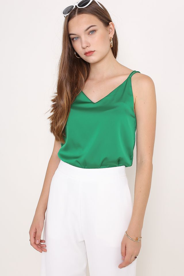 DEBRA DOUBLE STRAP SATIN TOP (KELLY GREEN)
