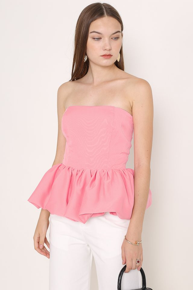 PEGGY PEPLUM TUBE TOP (POWDER PINK)