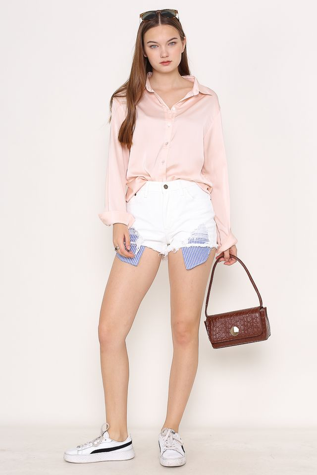 SHANNON SATIN SHIRT (LIGHT PINK)