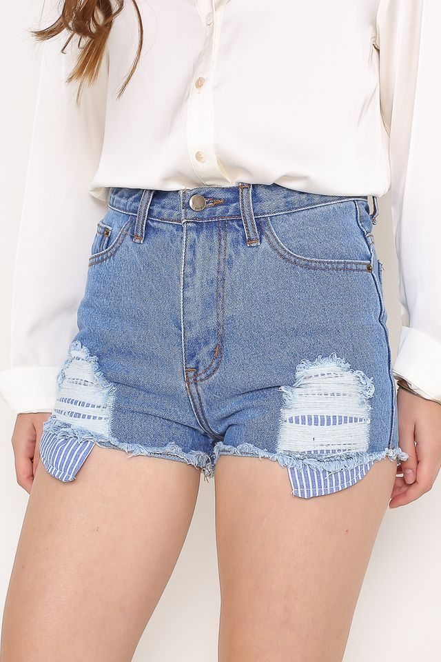PENNY PINSTRIPE DENIM SHORTS (LIGHT DENIM)