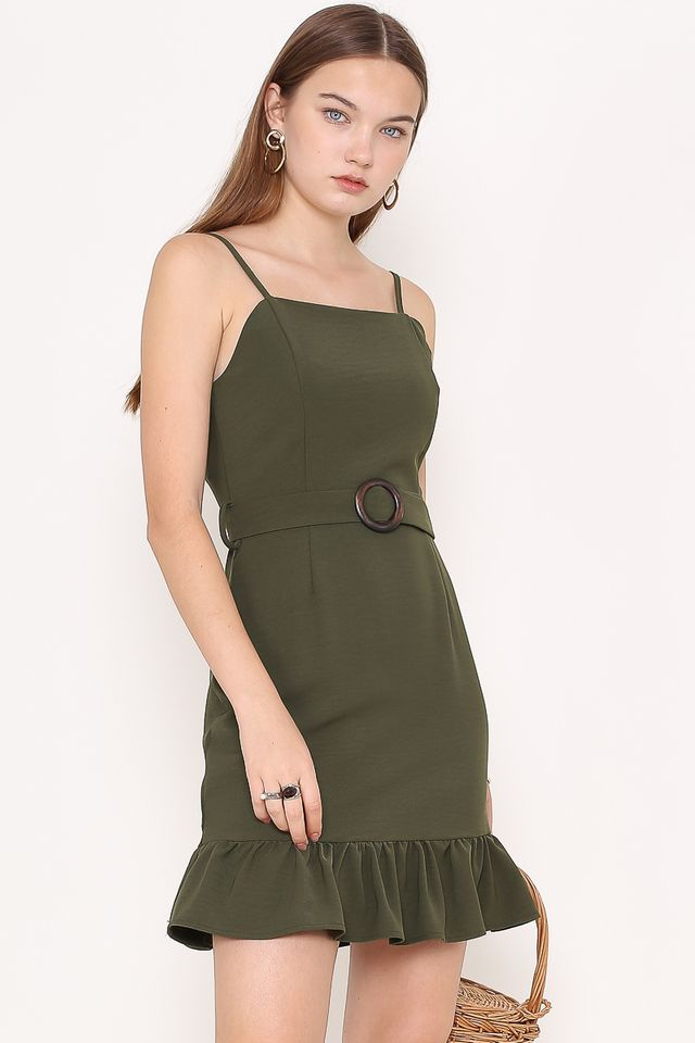 MINDY RUFFLE-HEM DRESS (OLIVE)