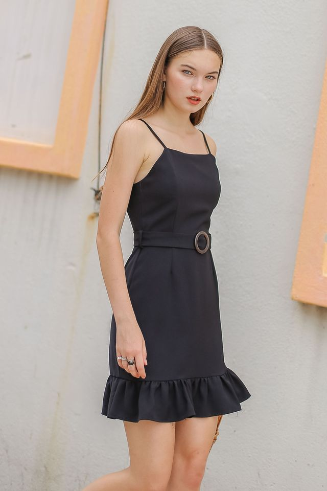 MINDY RUFFLE-HEM DRESS (BLACK)
