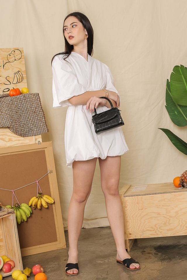 CHARLOTTE PUFFY-SLEEVE DRESS (WHITE)