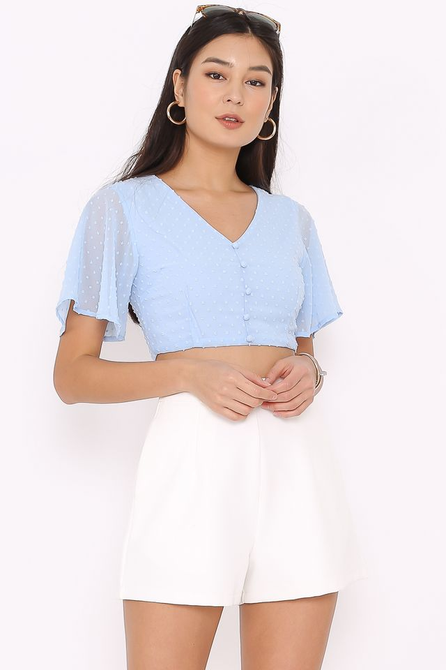 STEFFI SWISS DOT CROP TOP (BABY BLUE)