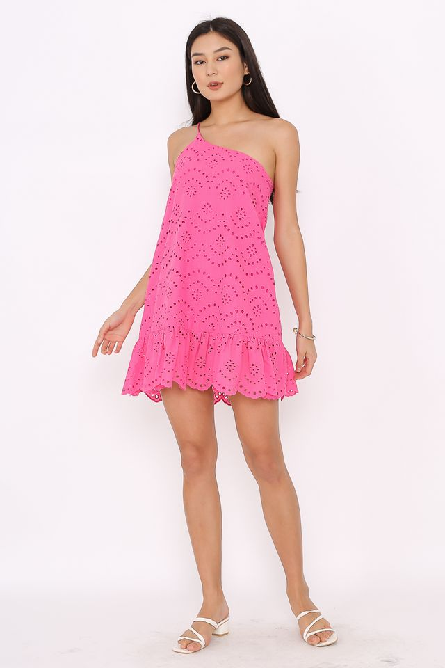 CASSANDRA CROCHET TOGA DRESS (HOT PINK)