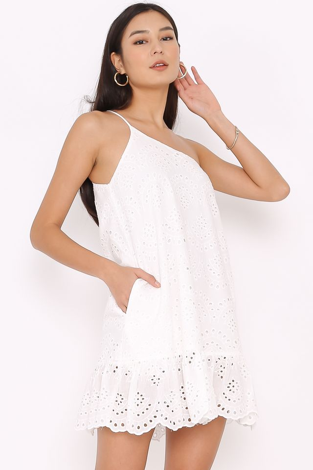 CASSANDRA CROCHET TOGA DRESS (WHITE)