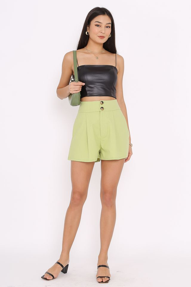 DORRIS DOUBLE BUTTON SHORTS (GRAPE GREEN)