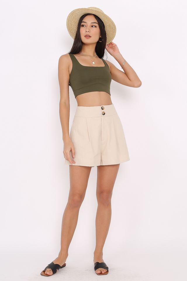 DORRIS DOUBLE BUTTON SHORTS (KHAKI)