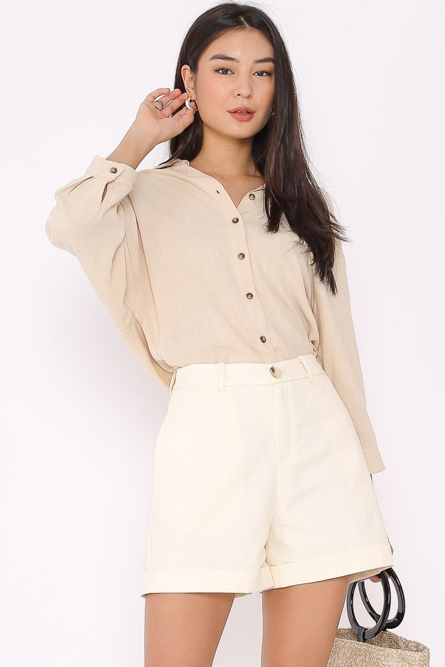 LUCIA LINEN CUFFED SHORTS (IVORY)
