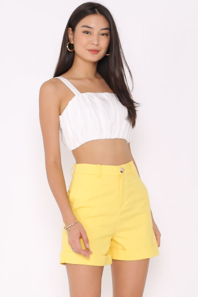 LUCIA LINEN CUFFED SHORTS (YELLOW)