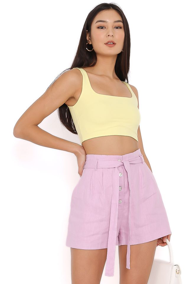 HASHY SQUARE NECK TOP (PASTEL YELLOW) (SIZE S)