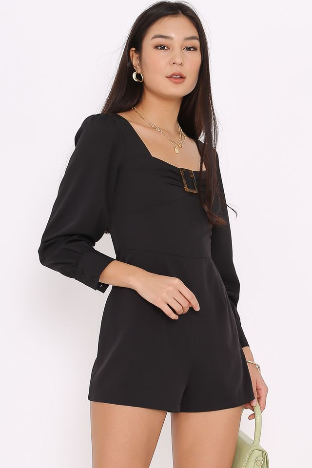 BETHANY BUCKLE ROMPER (BLACK)