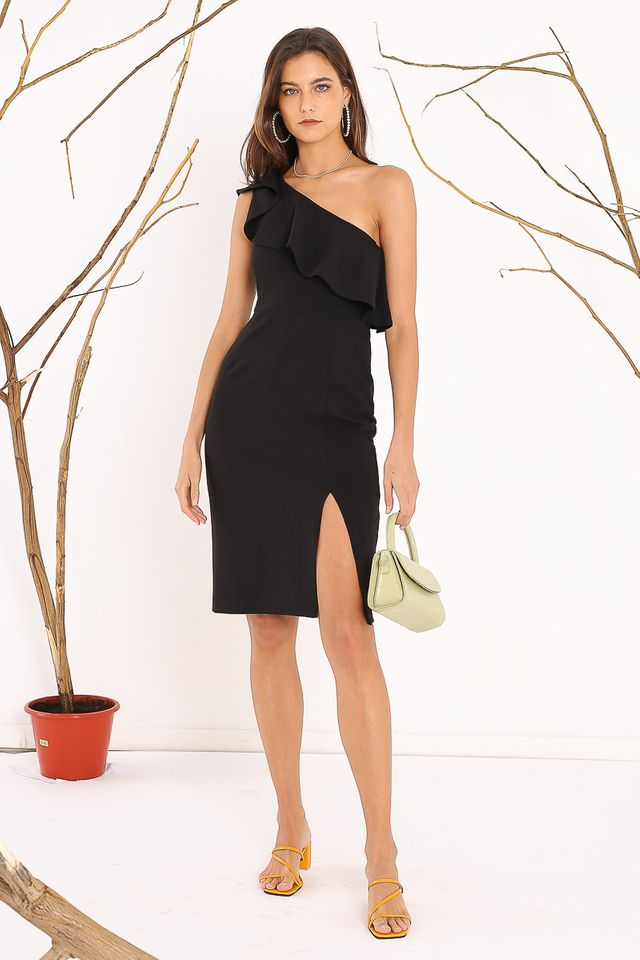 TAHLIA TOGA DRESS (BLACK)