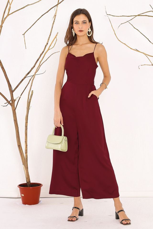 SAFFRON SATIN JUMPSUIT (BURGUNDY)