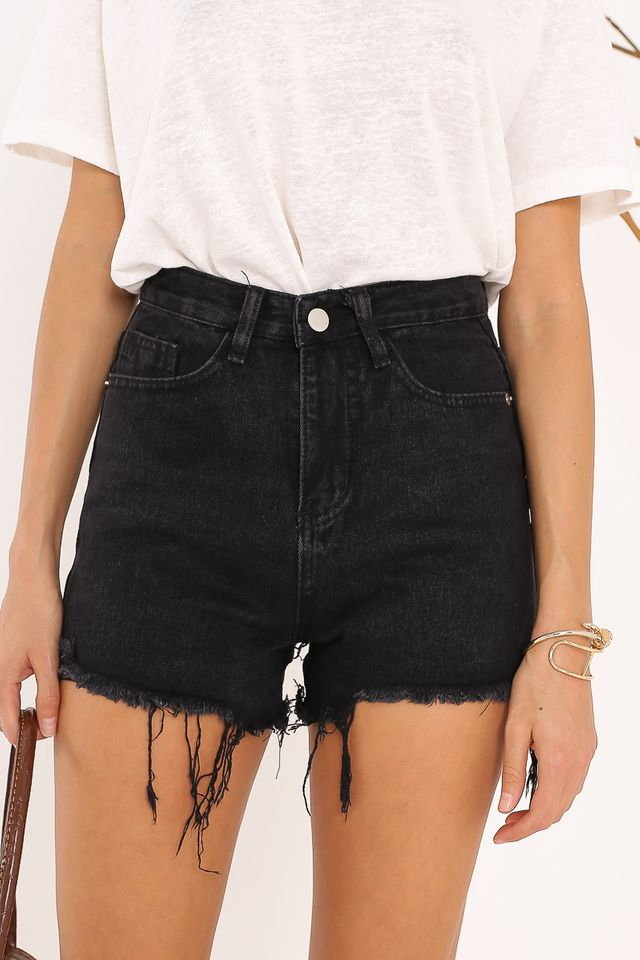 DONNA DENIM SHORTS (BLACK)