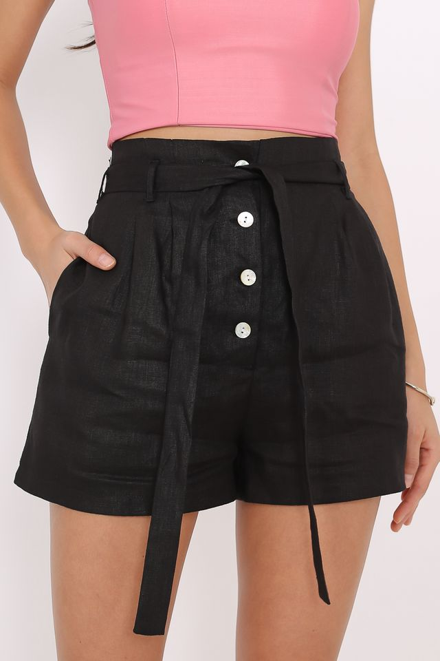 LEIA LINEN SHORTS (BLACK)