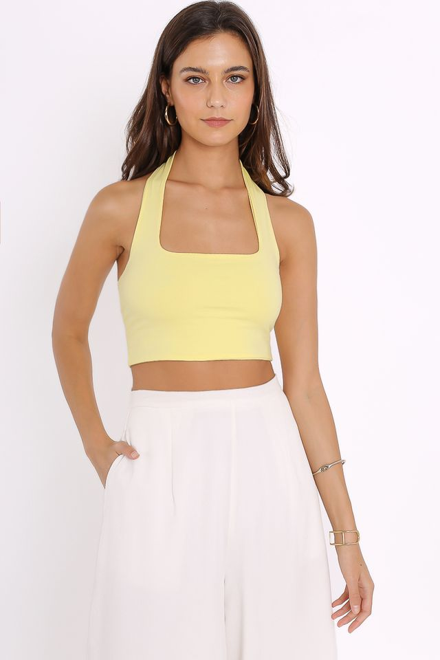 HILTON HALTER TOP (PASTEL YELLOW)