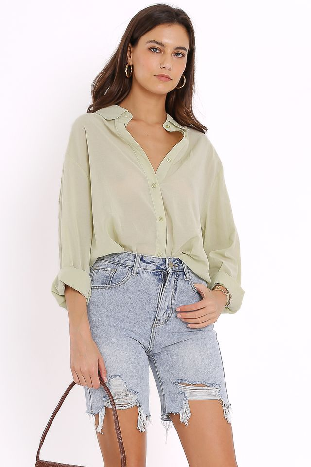 ILIANA RELAXED SHIRT (APPLE GREEN)