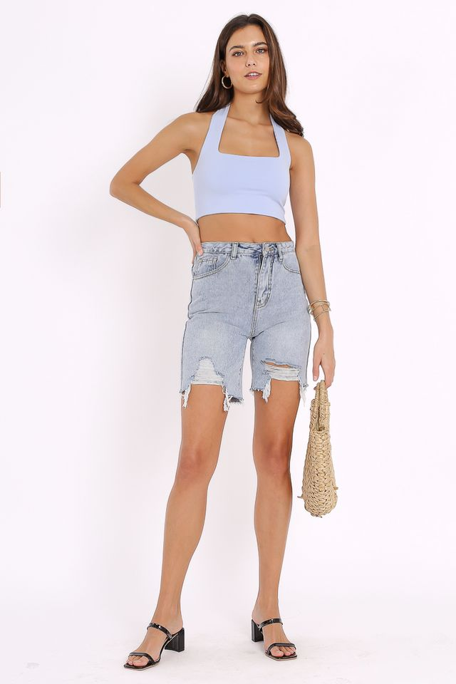 LUCAS LONGLINE DENIM SHORTS
