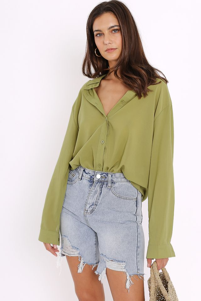 ILIANA RELAXED SHIRT (AVOCADO GREEN)