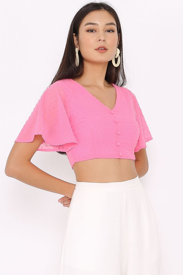 STEFFI SWISS DOT CROP TOP (PINK)