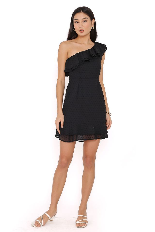 SYLVIA SWISS DOT DRESS (BLACK)
