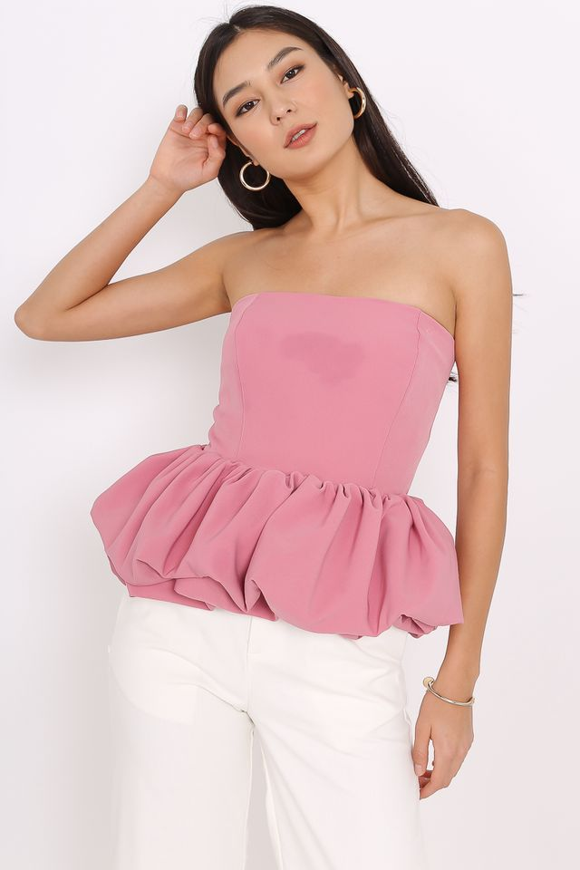 PEGGY PEPLUM TUBE TOP (DUSTY ROSE)